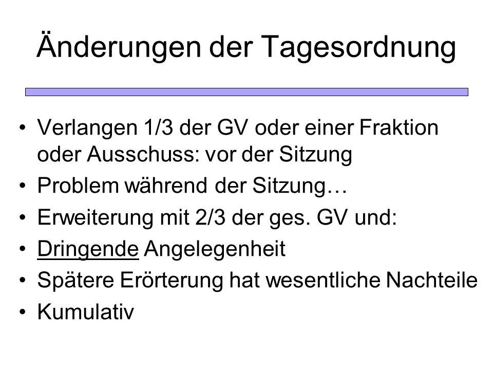 Änderungen der Tagesordnung Verlangen 1/3 der GV oder einer Fraktion oder Ausschuss: vor der Sitzung Problem während der Sitzung… Erweiterung mit 2/3