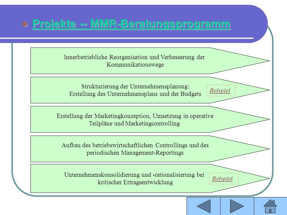 Projekte -- MMR-Beratungsprogramm Projekte -- MMR-Beratungsprogramm Innerbetriebliche Reorganisation und Verbesserung der Kommunikationswege Strukturi