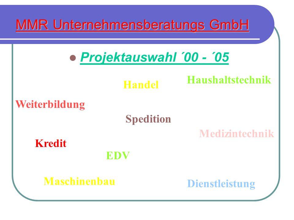 MMR Unternehmensberatungs GmbH Projektauswahl ´00 - ´05 Tourismus Kredit Spedition Maschinenbau Haushaltstechnik Dienstleistung Medizintechnik Weiterb