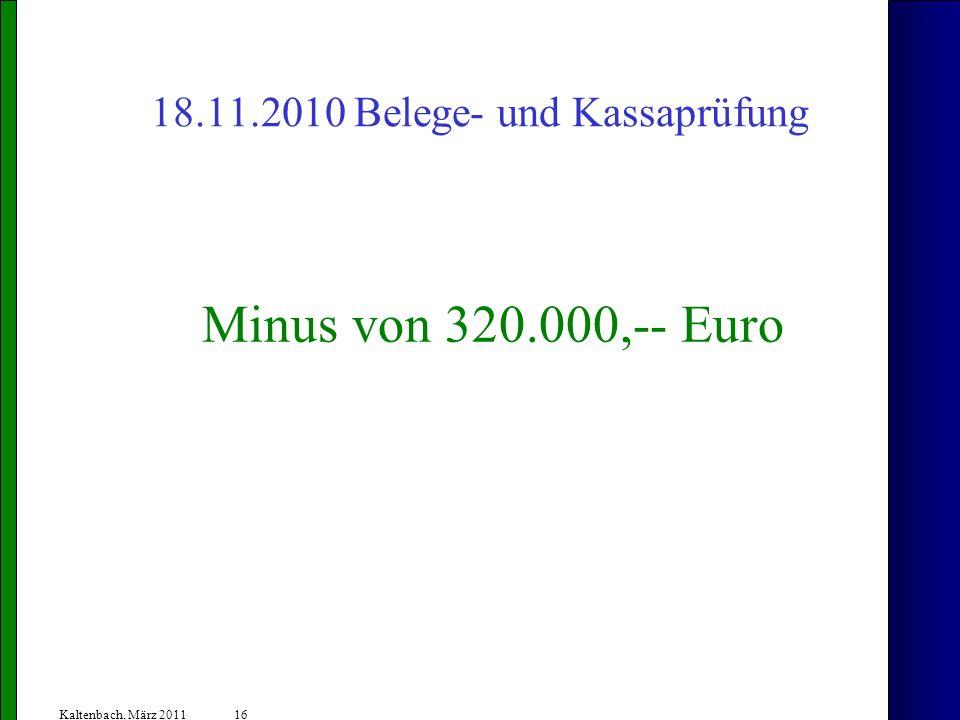 16 Kaltenbach, März 2011 18.11.2010 Belege- und Kassaprüfung Minus von 320.000,-- Euro