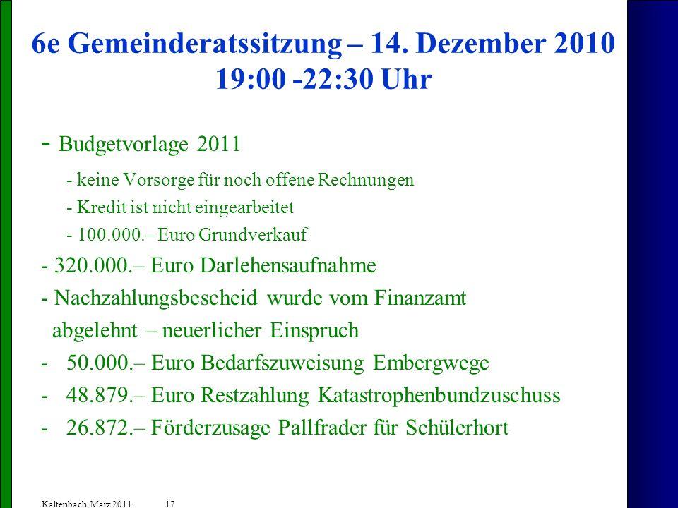 17 Kaltenbach, März 2011 6e Gemeinderatssitzung – 14. Dezember 2010 19:00 -22:30 Uhr - Budgetvorlage 2011 - keine Vorsorge für noch offene Rechnungen