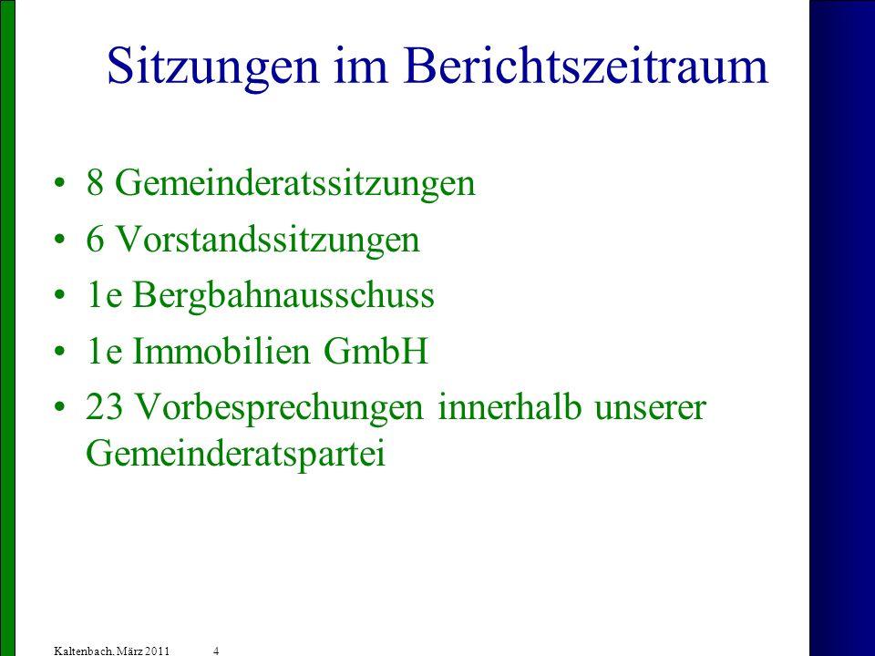 4 Kaltenbach, März 2011 Sitzungen im Berichtszeitraum 8 Gemeinderatssitzungen 6 Vorstandssitzungen 1e Bergbahnausschuss 1e Immobilien GmbH 23 Vorbesprechungen innerhalb unserer Gemeinderatspartei