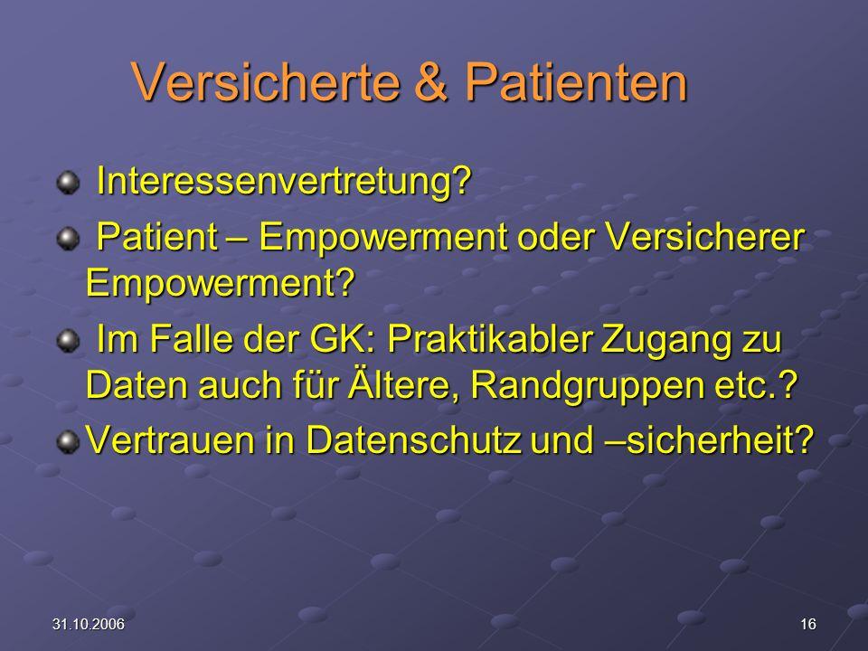 1631.10.2006 Versicherte & Patienten Interessenvertretung.