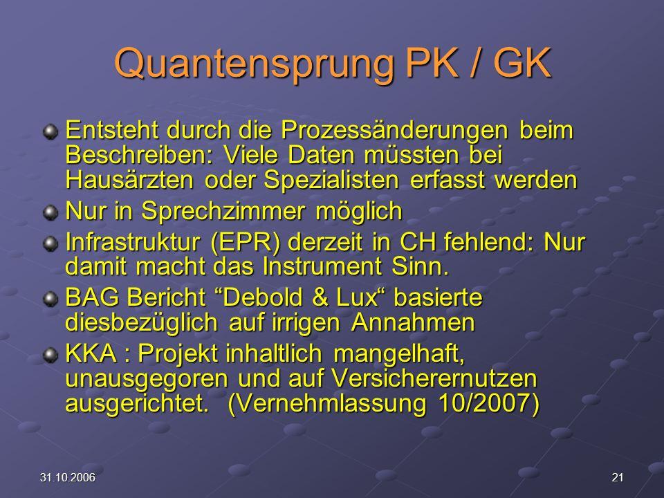 2131.10.2006 Quantensprung PK / GK Entsteht durch die Prozessänderungen beim Beschreiben: Viele Daten müssten bei Hausärzten oder Spezialisten erfasst werden Nur in Sprechzimmer möglich Infrastruktur (EPR) derzeit in CH fehlend: Nur damit macht das Instrument Sinn.
