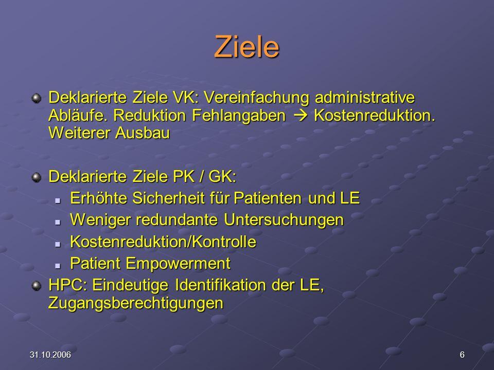 631.10.2006 Ziele Deklarierte Ziele VK: Vereinfachung administrative Abläufe.