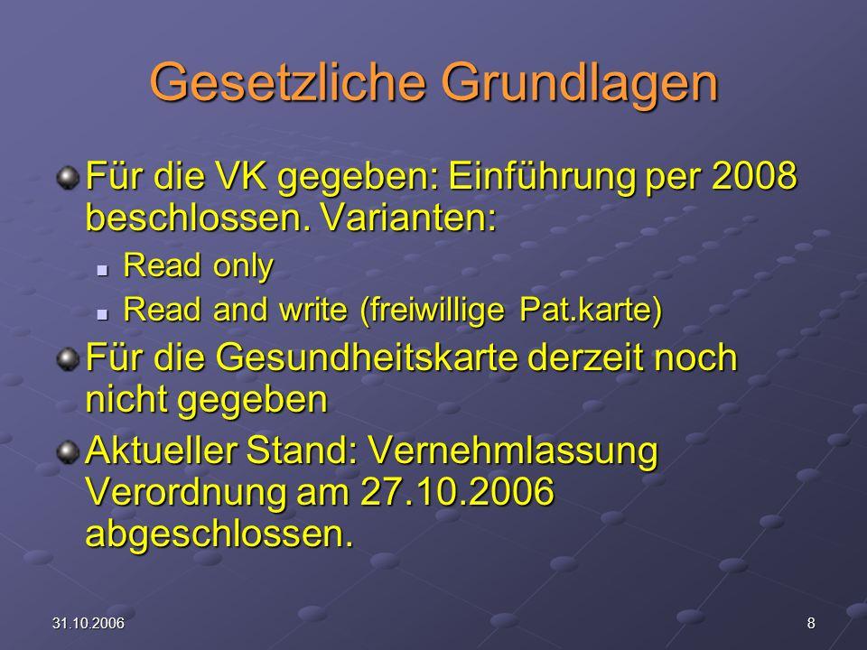 831.10.2006 Gesetzliche Grundlagen Für die VK gegeben: Einführung per 2008 beschlossen.