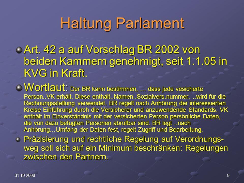 2031.10.2006 Finanzierung VK Laut Artikel 42 a Abs.3 KVG Sache der Krankenversicherer BAG & Versicherer versuchen Einbezug der LE Kosten /Nutzen Analyse.