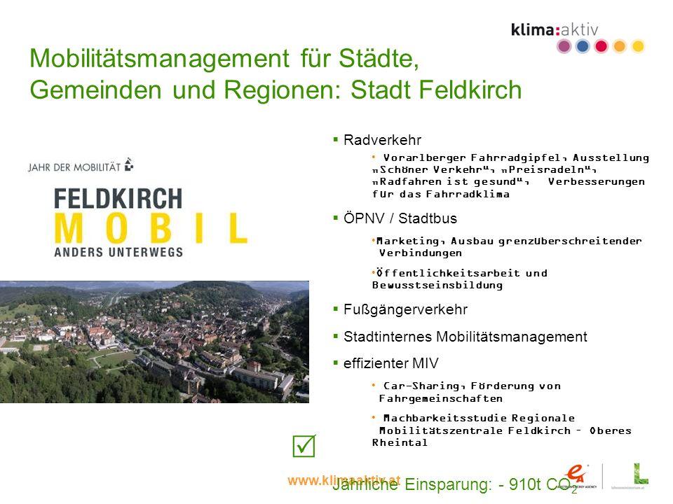 www.klimaaktiv.at Mobilitätsmanagement für Städte, Gemeinden und Regionen: Stadt Feldkirch Radverkehr Vorarlberger Fahrradgipfel, Ausstellung Schöner