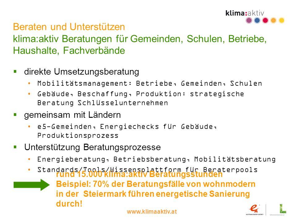 www.klimaaktiv.at Beraten und Unterstützen klima:aktiv Beratungen für Gemeinden, Schulen, Betriebe, Haushalte, Fachverbände direkte Umsetzungsberatung