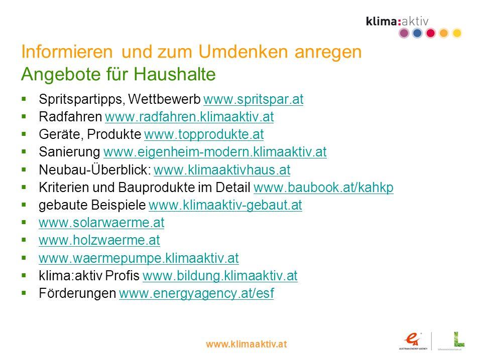 www.klimaaktiv.at Informieren und zum Umdenken anregen Angebote für Haushalte Spritspartipps, Wettbewerb www.spritspar.atwww.spritspar.at Radfahren ww