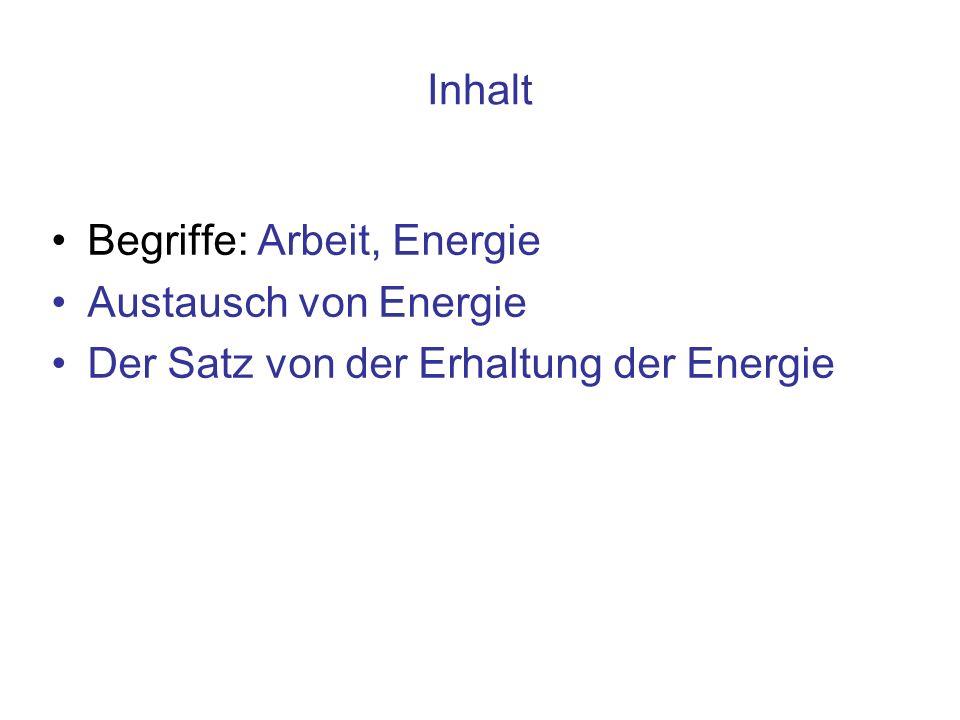 Inhalt Begriffe: Arbeit, Energie Austausch von Energie Der Satz von der Erhaltung der Energie