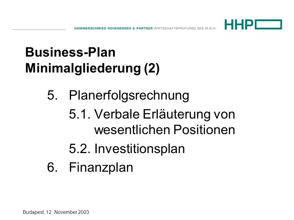 Budapest, 12.November 2003 Business-Plan Minimalgliederung (2) 5.