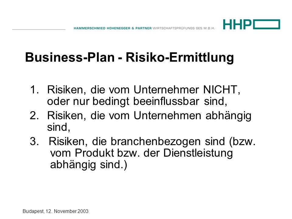 Budapest, 12.November 2003 Business-Plan - Risiko-Ermittlung 1.