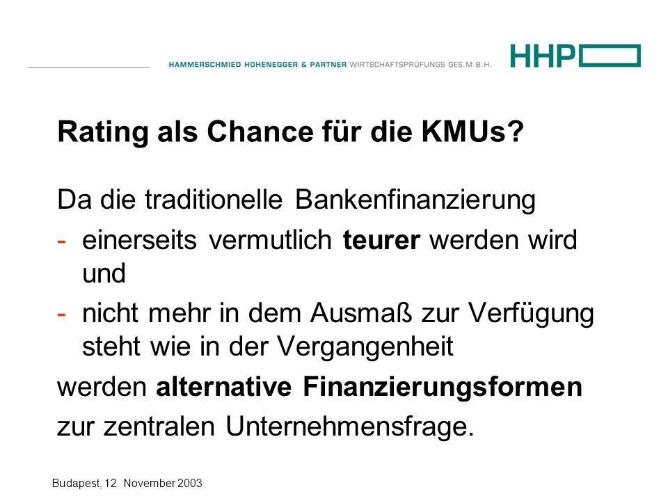 Budapest, 12.November 2003 Rating als Chance für die KMUs.