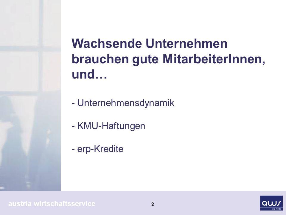 austria wirtschaftsservice 3 KMU - Unternehmensdynamik Kleine und mittlere Unternehmen innovative und wachstums- orientierte Investitionen Prämienförderung 5% von max.