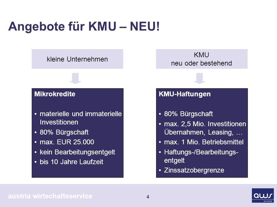 austria wirtschaftsservice 5 zinsgünstige erp-Kredite Investitionen in Sachanlagen neue Maschinen bauliche Maßnahmen aktivierte Eigenleistungen Bedarf mind.