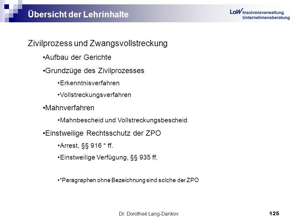 Dr. Dorotheé Lang-Dankov125 Übersicht der Lehrinhalte Zivilprozess und Zwangsvollstreckung Aufbau der Gerichte Grundzüge des Zivilprozesses Erkenntnis