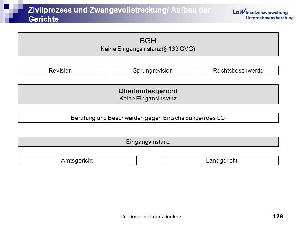 Dr. Dorotheé Lang-Dankov128 Zivilprozess und Zwangsvollstreckung/ Aufbau der Gerichte BGH Keine Eingangsinstanz (§ 133 GVG) RevisionSprungrevisionRech
