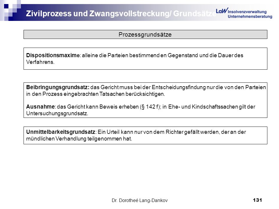 Dr. Dorotheé Lang-Dankov131 Zivilprozess und Zwangsvollstreckung/ Grundsätze Prozessgrundsätze Dispositionsmaxime: alleine die Parteien bestimmend en