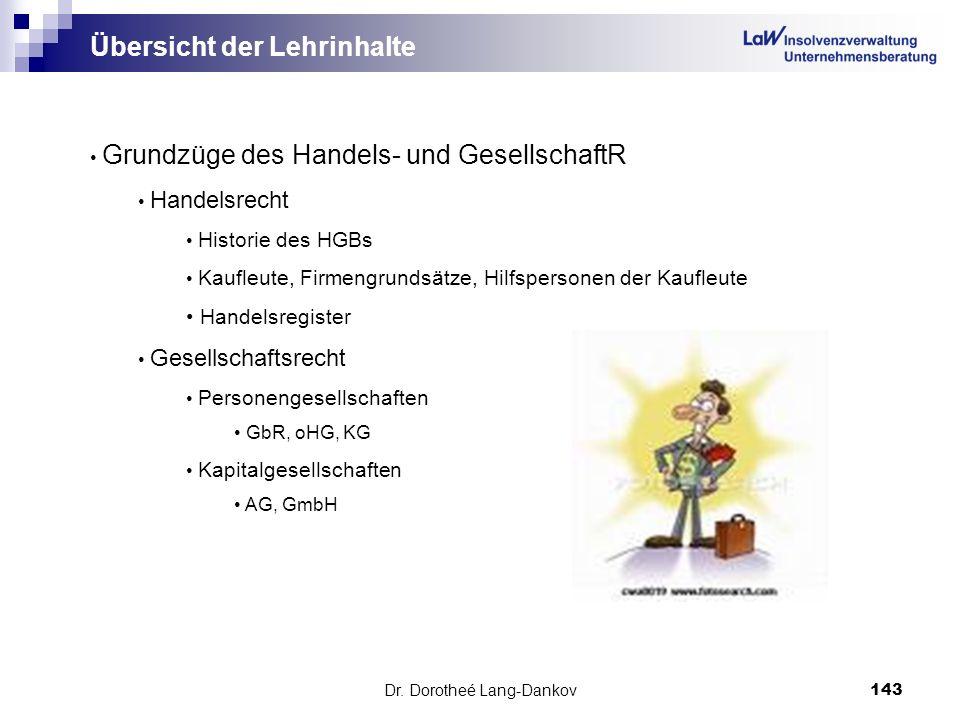 Dr. Dorotheé Lang-Dankov143 Übersicht der Lehrinhalte Grundzüge des Handels- und GesellschaftR Handelsrecht Historie des HGBs Kaufleute, Firmengrundsä
