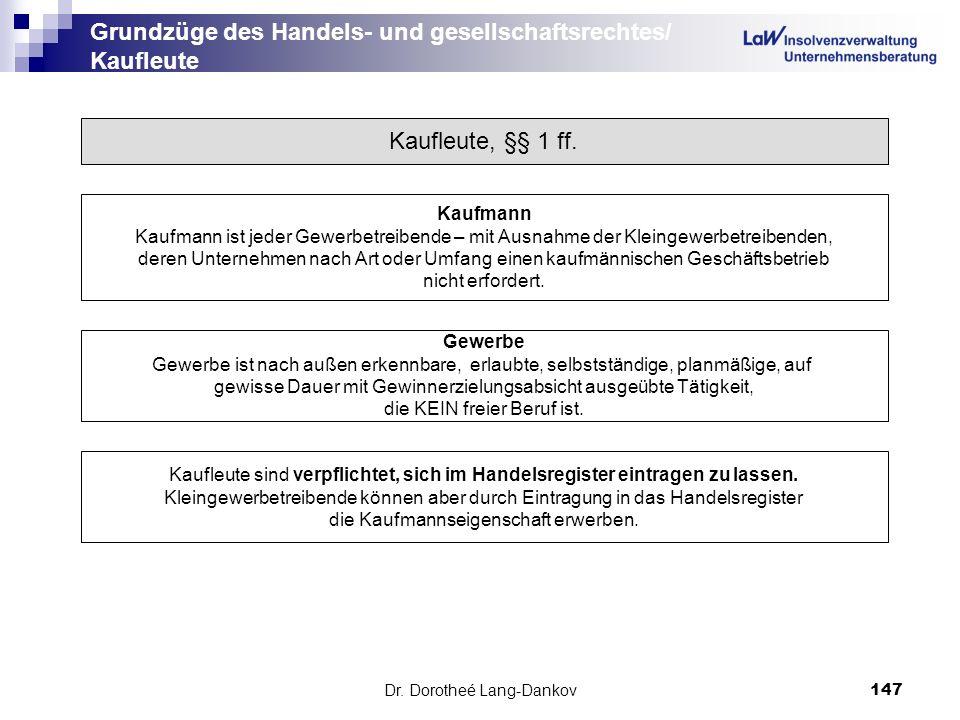 Dr. Dorotheé Lang-Dankov147 Grundzüge des Handels- und gesellschaftsrechtes/ Kaufleute Kaufleute, §§ 1 ff. Kaufmann Kaufmann ist jeder Gewerbetreibend