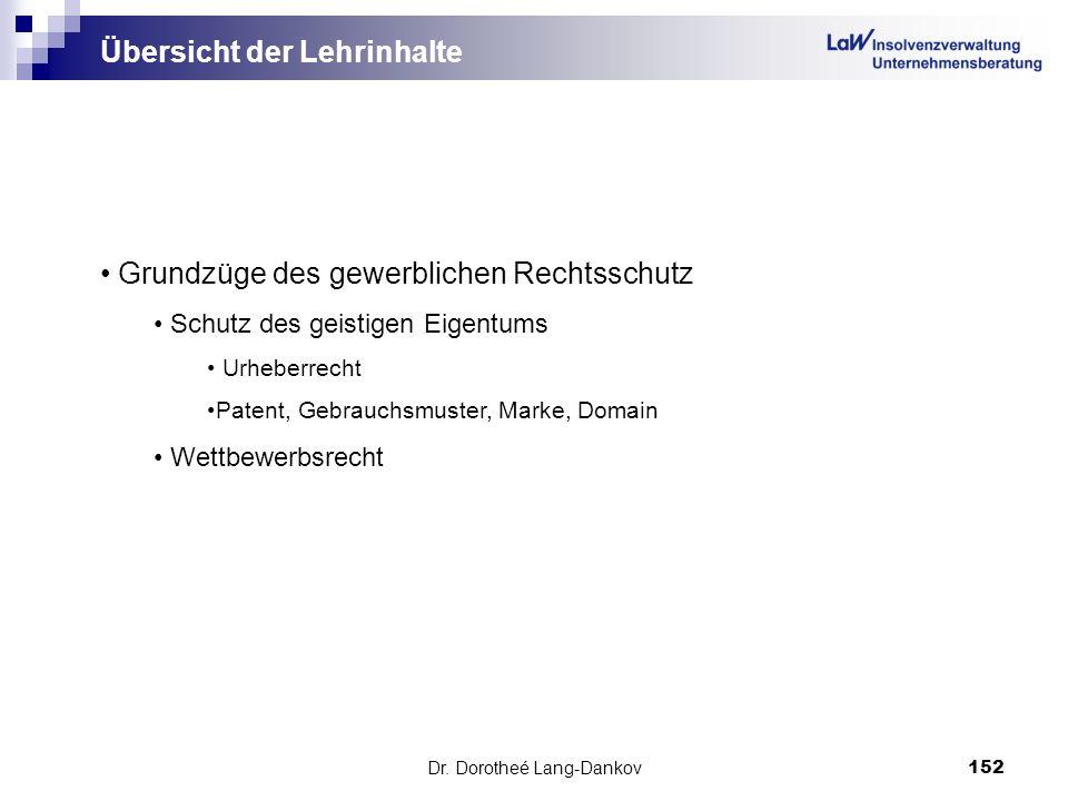 Dr. Dorotheé Lang-Dankov152 Übersicht der Lehrinhalte Grundzüge des gewerblichen Rechtsschutz Schutz des geistigen Eigentums Urheberrecht Patent, Gebr