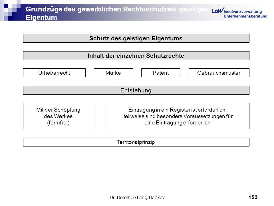 Dr. Dorotheé Lang-Dankov153 Grundzüge des gewerblichen Rechtsschutzes/ geistiges Eigentum Schutz des geistigen Eigentums Inhalt der einzelnen Schutzre