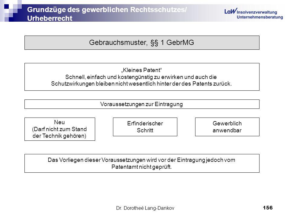 Dr. Dorotheé Lang-Dankov156 Grundzüge des gewerblichen Rechtsschutzes/ Urheberrecht Gebrauchsmuster, §§ 1 GebrMG Kleines Patent Schnell, einfach und k