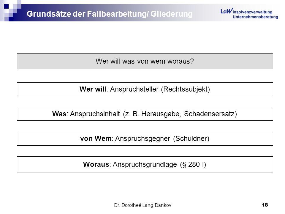 Dr. Dorotheé Lang-Dankov18 Grundsätze der Fallbearbeitung/ Gliederung Wer will was von wem woraus? Wer will: Anspruchsteller (Rechtssubjekt) Was: Ansp