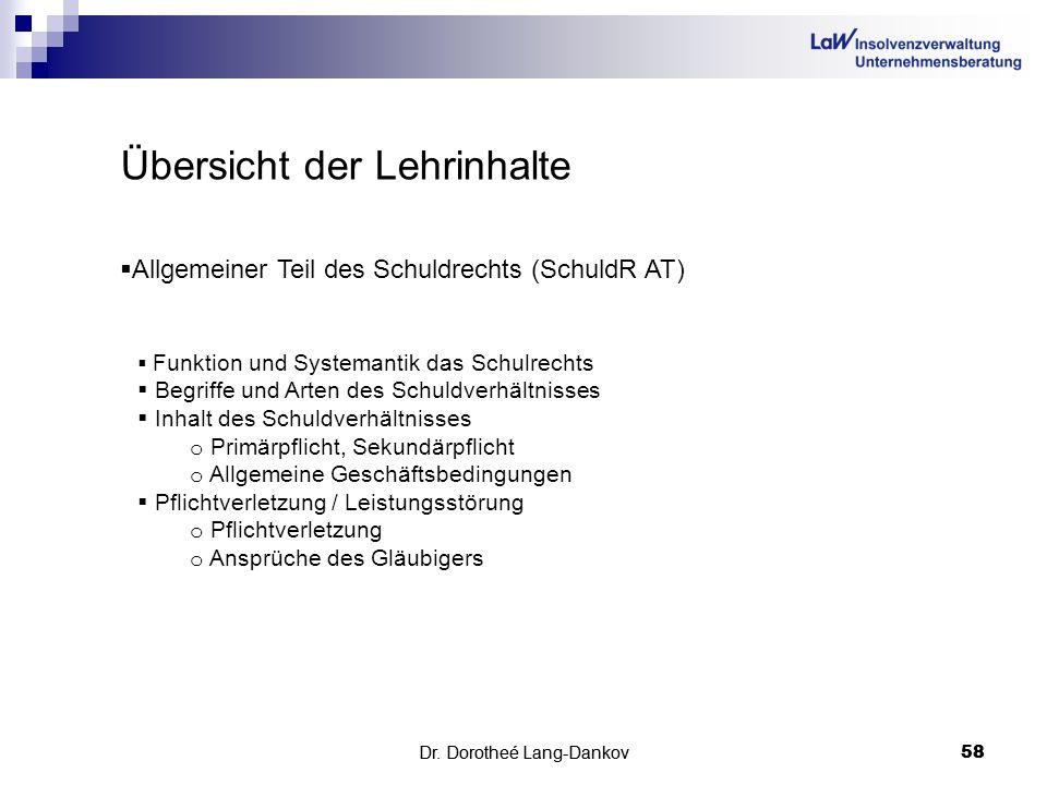 Dr. Dorotheé Lang-Dankov58 Dr. Dorotheé Lang-Dankov 58 Übersicht der Lehrinhalte Allgemeiner Teil des Schuldrechts (SchuldR AT) Funktion und Systemant