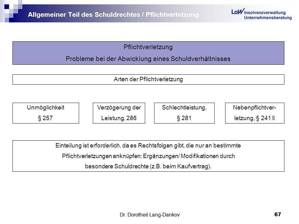 Dr.Dorotheé Lang-Dankov67 Allgemeiner Teil des Schuldrechtes / Pflichtverletzung Dr.