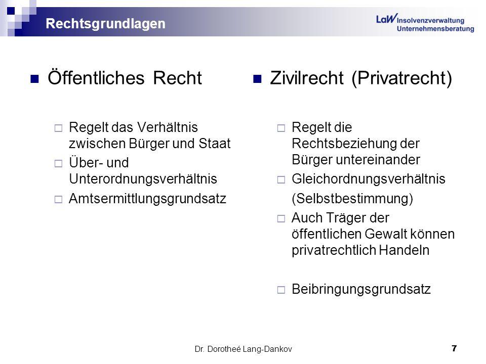 Dr. Dorotheé Lang-Dankov7 7 Rechtsgrundlagen Öffentliches Recht Regelt das Verhältnis zwischen Bürger und Staat Über- und Unterordnungsverhältnis Amts