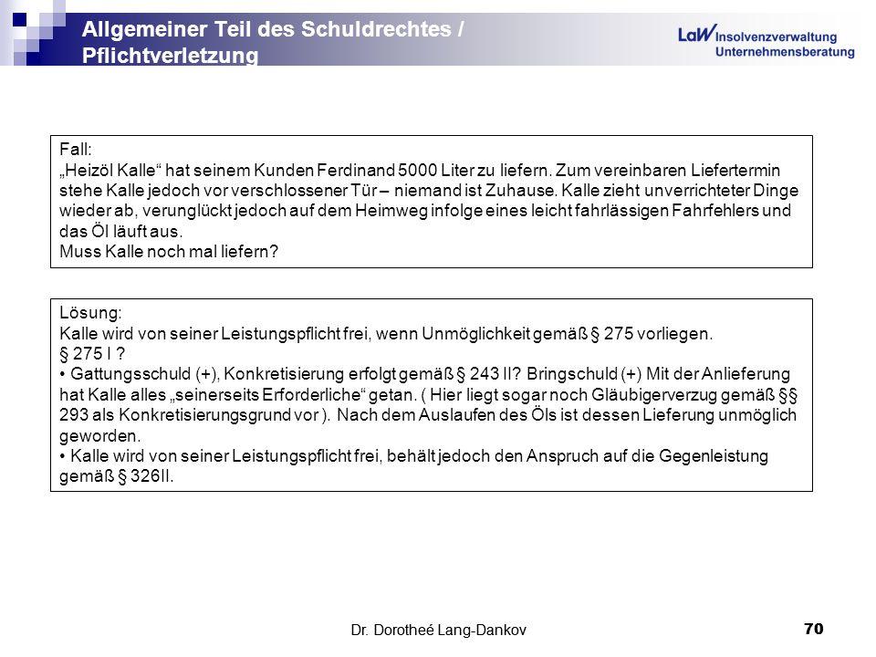 Dr. Dorotheé Lang-Dankov70 Allgemeiner Teil des Schuldrechtes / Pflichtverletzung Dr. Dorotheé Lang-Dankov 70 Fall: Heizöl Kalle hat seinem Kunden Fer
