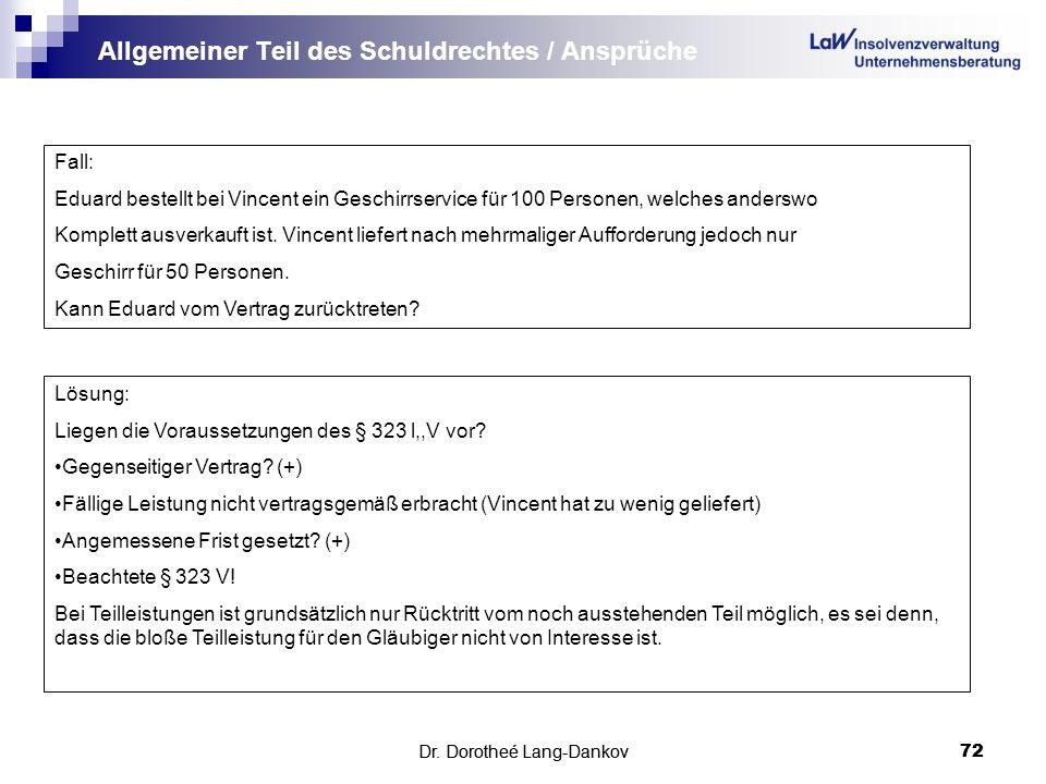 Dr. Dorotheé Lang-Dankov72 Allgemeiner Teil des Schuldrechtes / Ansprüche Dr. Dorotheé Lang-Dankov 72 Fall: Eduard bestellt bei Vincent ein Geschirrse