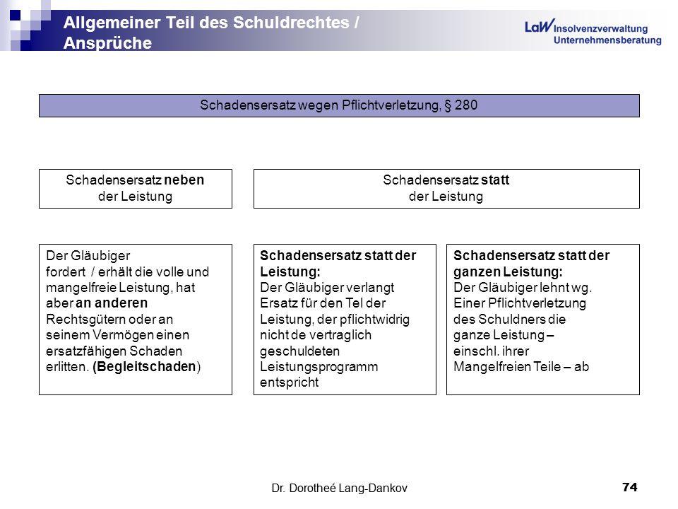 Dr. Dorotheé Lang-Dankov74 Allgemeiner Teil des Schuldrechtes / Ansprüche Dr. Dorotheé Lang-Dankov 74 Schadensersatz wegen Pflichtverletzung, § 280 Sc