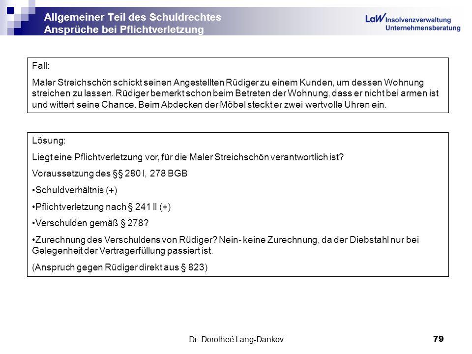 Dr. Dorotheé Lang-Dankov79 Allgemeiner Teil des Schuldrechtes Ansprüche bei Pflichtverletzung Dr. Dorotheé Lang-Dankov 79 Fall: Maler Streichschön sch