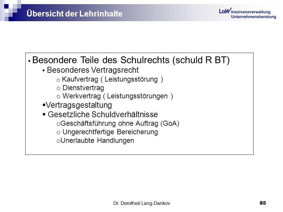 Dr. Dorotheé Lang-Dankov85 Übersicht der Lehrinhalte Dr. Dorotheé Lang-Dankov 85 Besondere Teile des Schulrechts (schuld R BT) Besonderes Vertragsrech