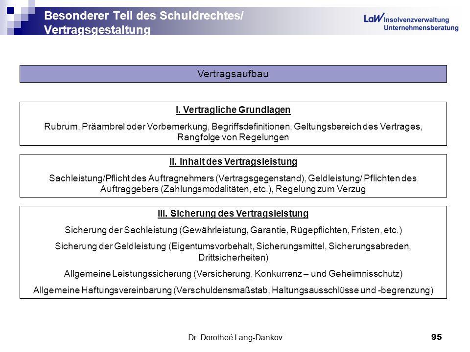 Dr. Dorotheé Lang-Dankov95 Besonderer Teil des Schuldrechtes/ Vertragsgestaltung Dr. Dorotheé Lang-Dankov 95 Vertragsaufbau l. Vertragliche Grundlagen