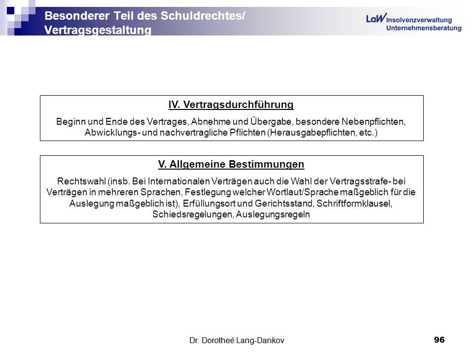 Dr. Dorotheé Lang-Dankov96 Besonderer Teil des Schuldrechtes/ Vertragsgestaltung Dr. Dorotheé Lang-Dankov 96 lV. Vertragsdurchführung Beginn und Ende