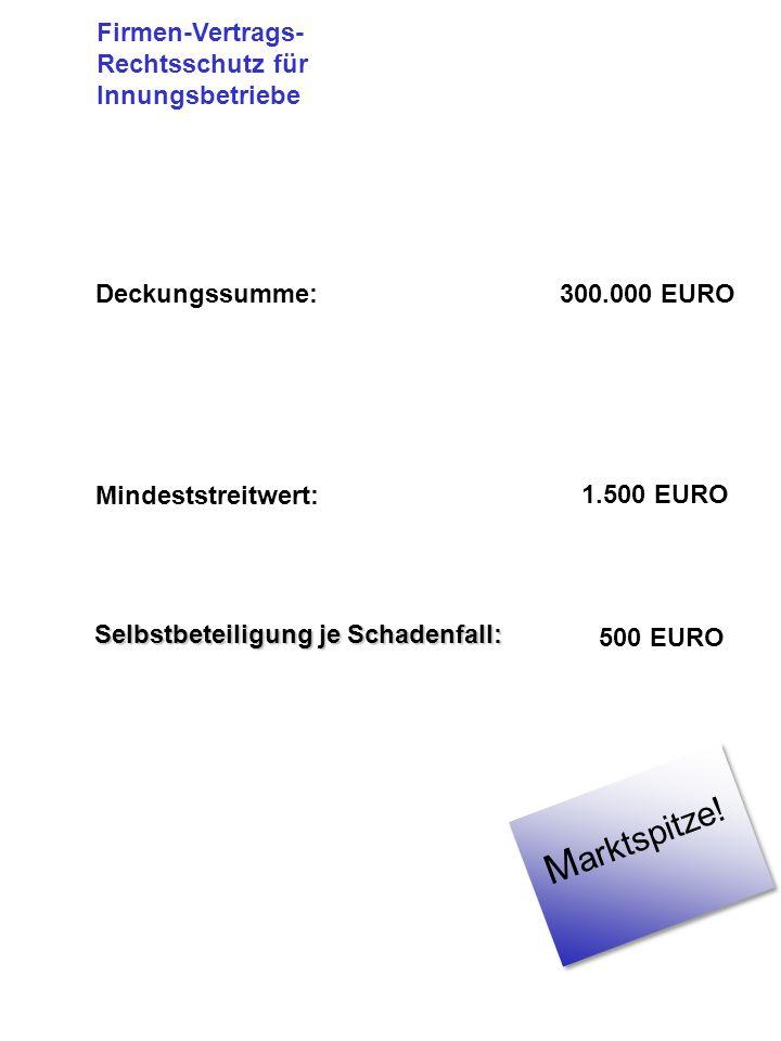 Deckungssumme:300.000 EURO Mindeststreitwert: 1.500 EURO Selbstbeteiligung je Schadenfall: 500 EURO Firmen-Vertrags- Rechtsschutz für Innungsbetriebe