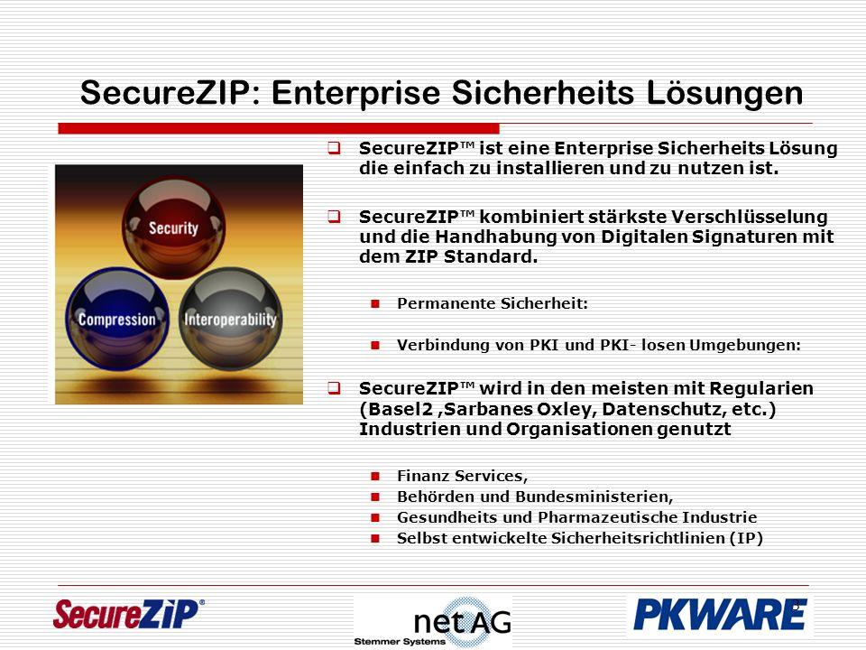 3 SecureZIP: Enterprise Sicherheits Lösungen SecureZIP ist eine Enterprise Sicherheits Lösung die einfach zu installieren und zu nutzen ist.