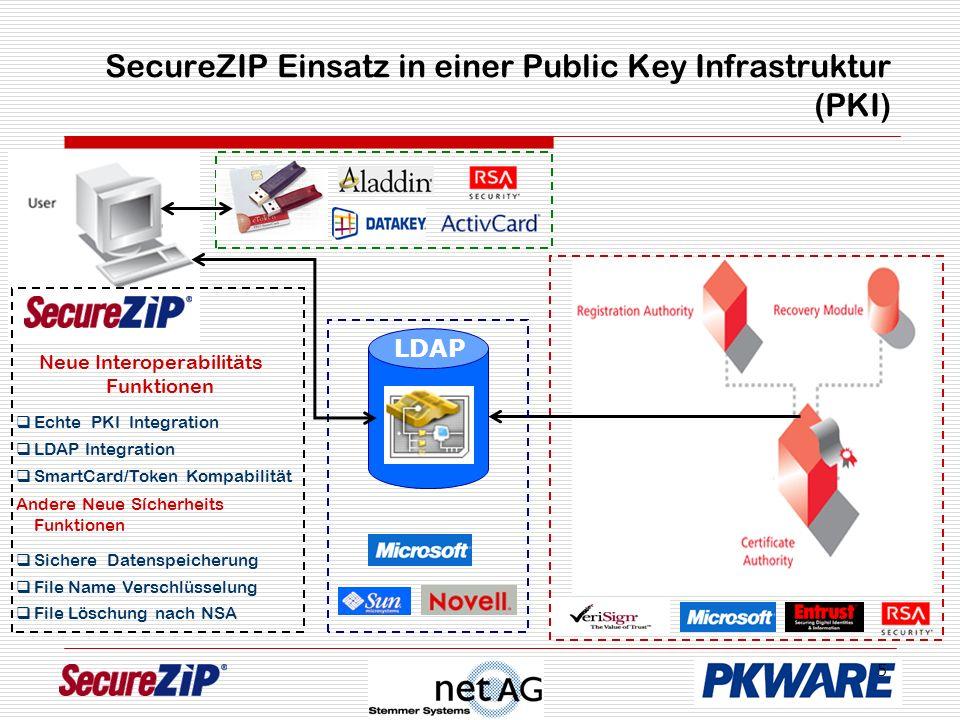 5 SecureZIP Einsatz in einer Public Key Infrastruktur (PKI) LDAP Neue Interoperabilitäts Funktionen Echte PKI Integration LDAP Integration Andere Neue Sícherheits Funktionen Sichere Datenspeicherung File Name Verschlüsselung File Löschung nach NSA SmartCard/Token Kompabilität