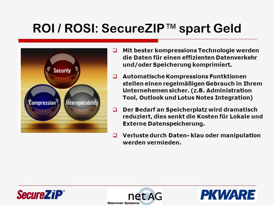 6 ROI / ROSI: SecureZIP spart Geld Mit bester kompressions Technologie werden die Daten für einen effizienten Datenverkehr und/oder Speicherung kompri