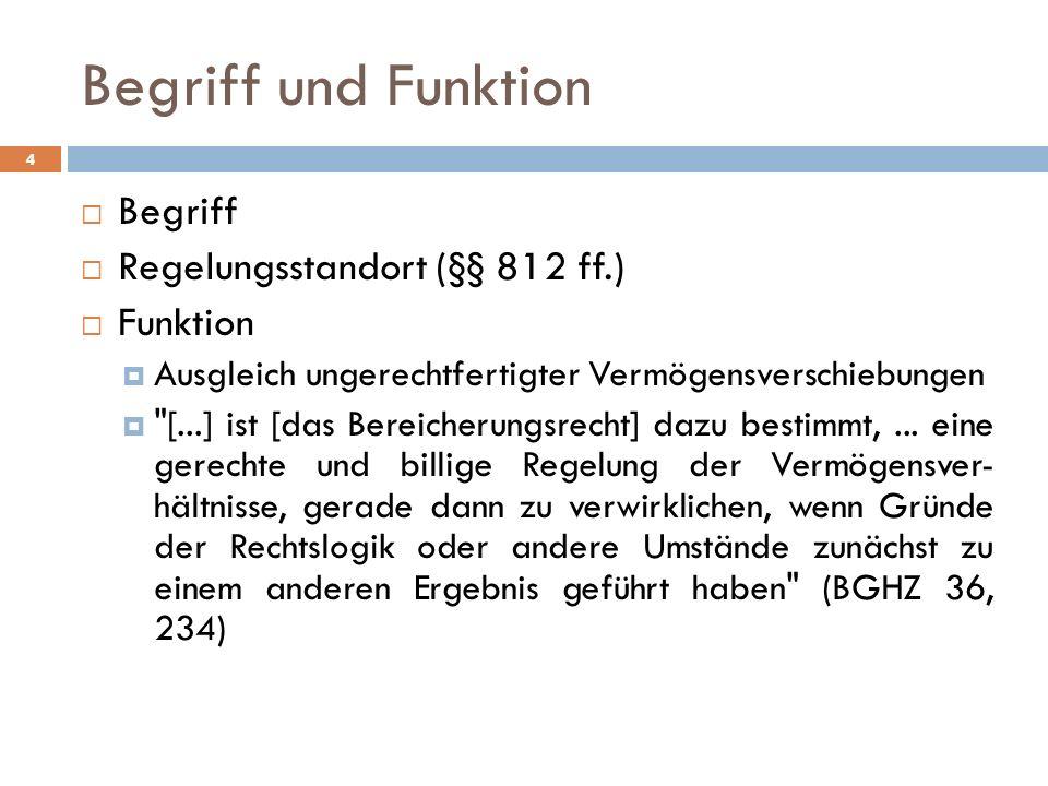 4 Begriff Regelungsstandort (§§ 812 ff.) Funktion Ausgleich ungerechtfertigter Vermögensverschiebungen