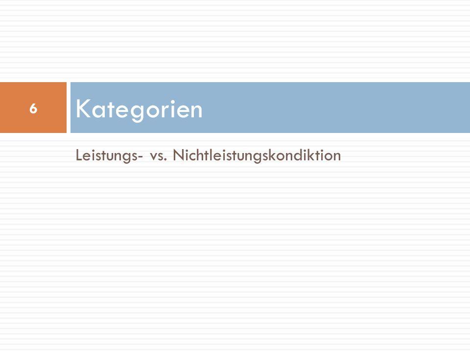 Leistungs- vs. Nichtleistungskondiktion Kategorien 6