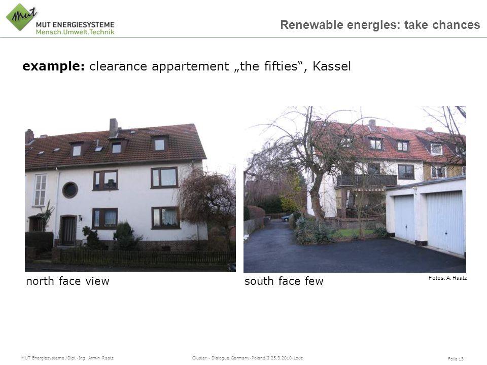 Folie 13 MUT Energiesysteme /Dipl.-Ing. Armin Raatz Cluster - Dialogue Germany-Poland II 25.3.2010 Lodz Renewable energies: take chances Fotos: A. Raa