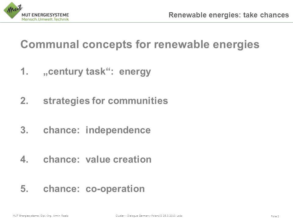 Folie 2 MUT Energiesysteme /Dipl.-Ing. Armin Raatz Cluster - Dialogue Germany-Poland II 25.3.2010 Lodz Renewable energies: take chances 1.century task