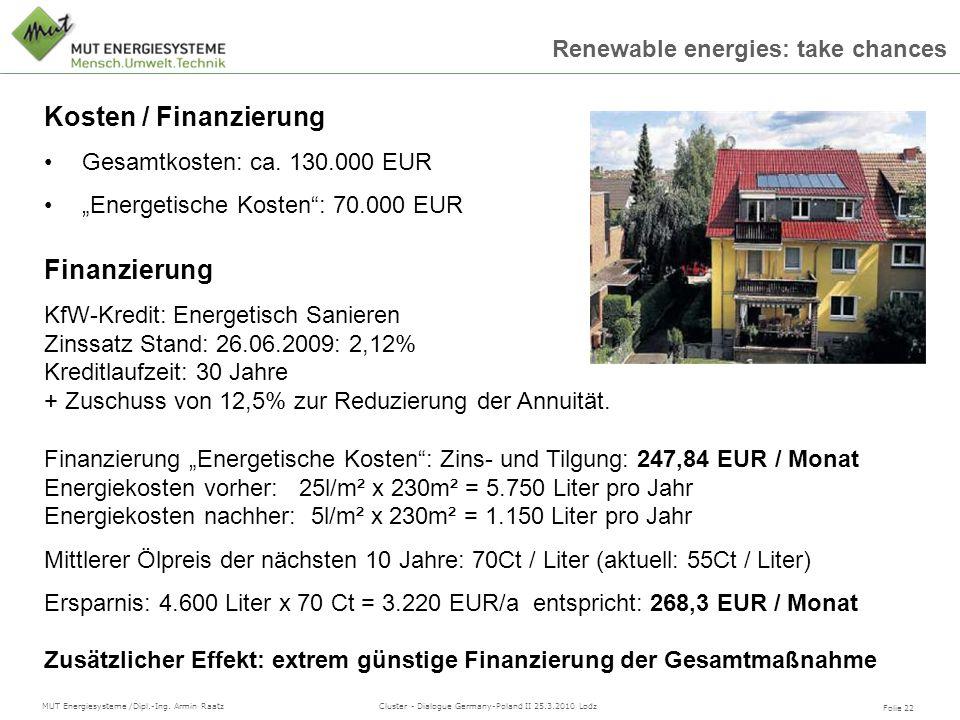Folie 22 MUT Energiesysteme /Dipl.-Ing. Armin Raatz Cluster - Dialogue Germany-Poland II 25.3.2010 Lodz Renewable energies: take chances Kosten / Fina