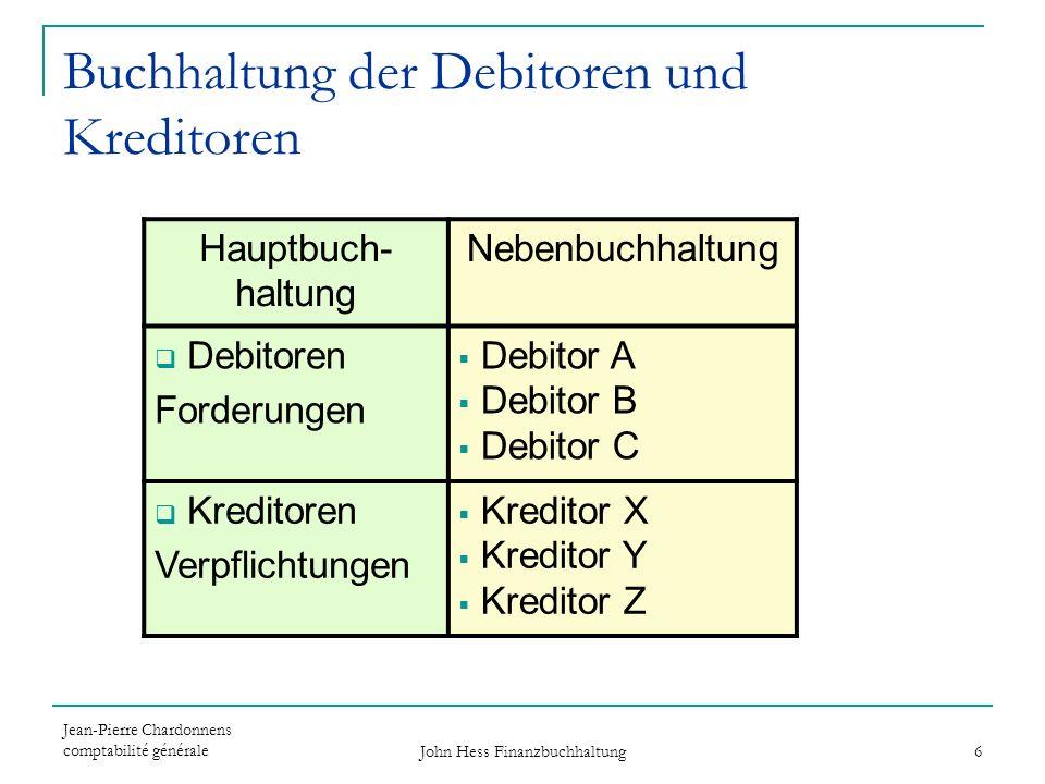 Jean-Pierre Chardonnens comptabilité générale John Hess Finanzbuchhaltung 6 Buchhaltung der Debitoren und Kreditoren Hauptbuch- haltung Nebenbuchhaltu