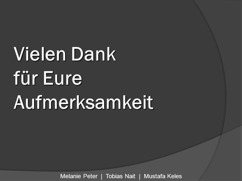 Vielen Dank für Eure Aufmerksamkeit Melanie Peter | Tobias Nait | Mustafa Keles